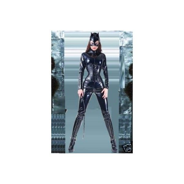 Sexy Catwoman Costume Catwoman Outfit Black PVC Catsuit ❤ liked on Polyvore featuring costumes, catwoman halloween costume, sexy catwoman halloween costume, sexy costumes, sexy catwoman costume and catwoman costume
