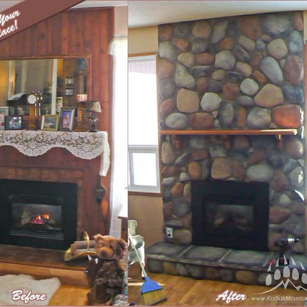 #Fireplace #BeforeAndAfter #kodiakmountainstone