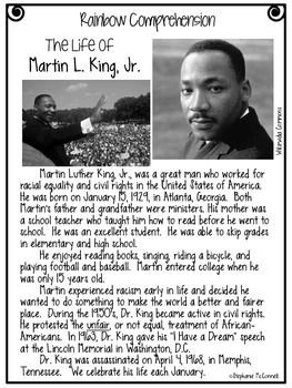 Martin L King, Jr-Rainbow Comprehension Freebie