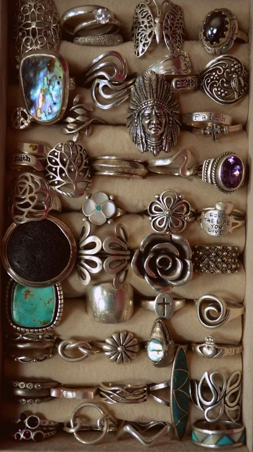 vintage boho rings! Can I have them all, please? :); They are very cool, the link to them is bad however, sad, O well~RP~
