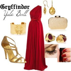 Gryffindor Yule Ball  | Harry Potter Inspired Outfits Red and gold