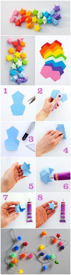 Make stars from paper - use them to decorate the Christmas tree connected on a long thick thread, or to put stars on your Christmas lights.  Link for little stars http://www.femina.mk/files/pdf/femina.mk-dzvezda-mala.pdf Link for medium stars http://www.femina.mk/files/pdf/femina.mk-dzvezda-sredna.pdf Link for big stars http://www.femina.mk/files/pdf/femina.mk-dzvezda-golema.pdf