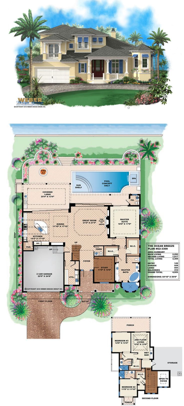 This two-story Olde Florida and Key West inspired home plan has a covered porch entry with decorative railings.   More Beach House Plans:  https://www.weberdesigngroup.com/home-plans/style/beach-house-plans/