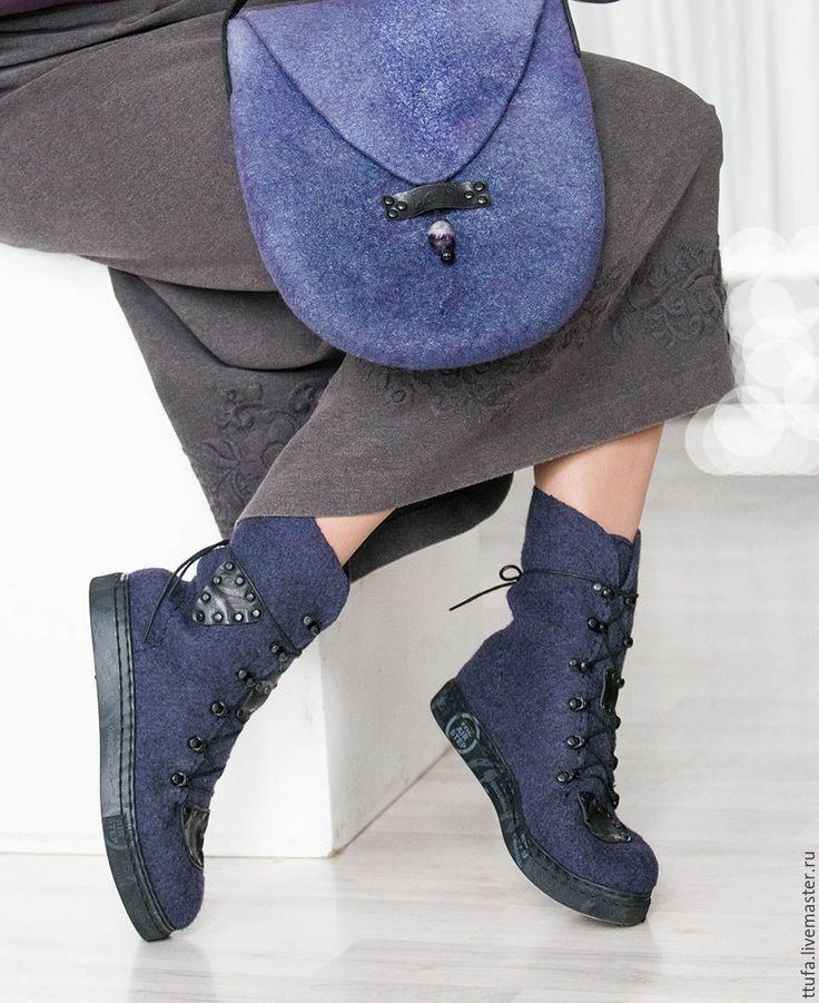 """Купить Всесезонные ботинки """"Ураган"""" унисекс размер 40-41 - тёмно-фиолетовый, серо-синий"""