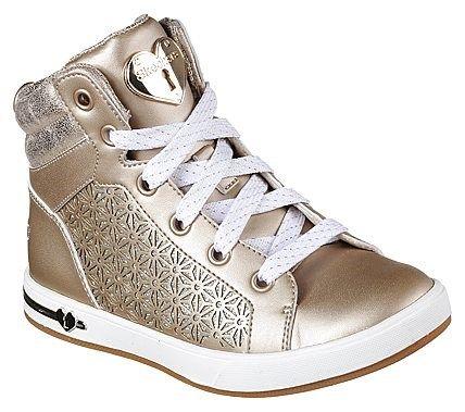 Skechers Kids' Shoutouts High Top Sneaker Pre/Grade School Shoes (Gold)
