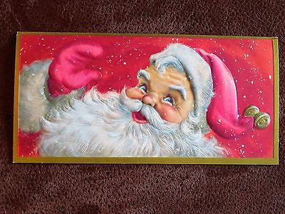 Vintage Christmas Card UNUSED Hallmark Smiling Santa Waving Pink Mittens & Hat