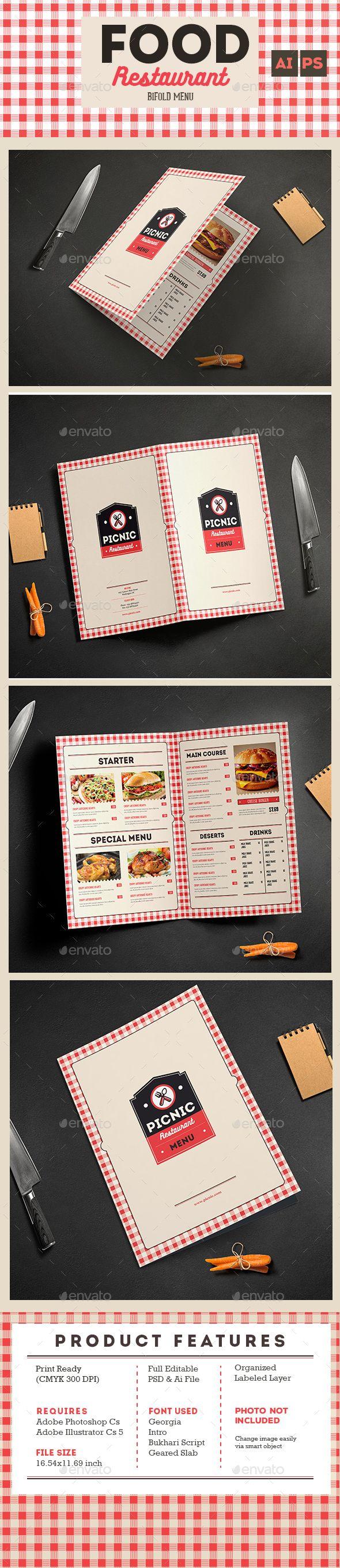 Retro Picnic Bifold Menu Template PSD, AI Illustrator. Download here: http://graphicriver.net/item/retro-picnic-bifold-menu/15994475?ref=ksioks