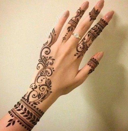 Gambar Henna Di Tangan Yang Simple