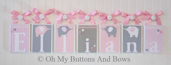 Hanging Name Letters. Nursery Name Blocks . by OhMyButtonsAndBows, $21.00
