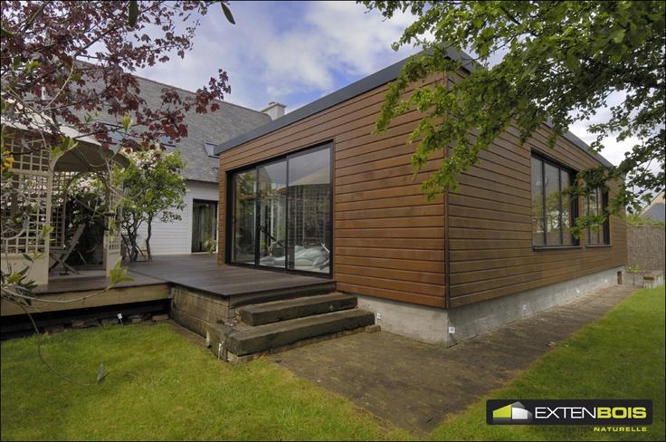 Une r alisation extenbois avec une terrasse en bois for Agrandissement maison isere