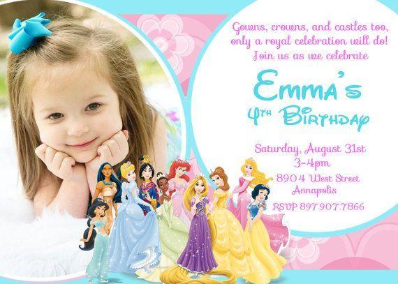 Awesome disney princess birthday party invitations
