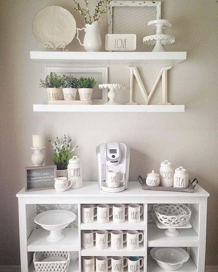 Farmhouse shelves  Rae Dunn mug display