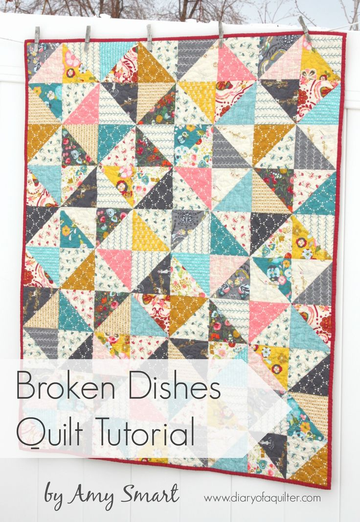 """BROKEN DISHES BABY QUILT TUTORIAL BY AMY SMART Easy DIY baby quilt made with half-square triangles. Perfect for a scrappy quilt.the traditional """"Broken Dishes"""" layout of half square triangle blocks. It's such a simple pattern –40″ x 50″ crib quilt"""