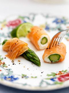 Smoked Salmon Rolls With Smoked Salmon, cream cheese, and asparagus.