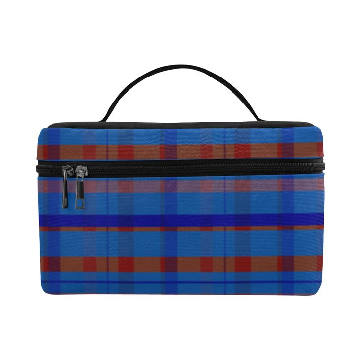 Royal Blue Plaid Hipster Style Cosmetic Bag/Large by Scar Design. #toiletrybag #toiletry #cosmeticbag #travelbag #travel #weekendtravelbag #family #onlineshopping #shopping #artsadd #gifts #scardesign #bag #style #fashion #giftsforhim #giftsforher #39 #design #modern  #plaid #plaidpattenrn #trendy #toiletrytravelbag #blue #orange