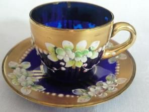 Murano, My grandmother brought back two of the high enameled Bohemian glass tea cups, they were always my favorite but for some reason they've disappeared, though I've bought other forms of the glass, tea cups can be surprisingly hard to find, thanks for the picture! !!!~