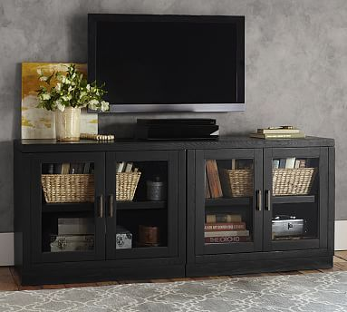 "Pottery Barn - Reynolds Media Stand.   Open-grain black finish with Antique Brass handles.  72"" w x 20"" d x 30"" h."