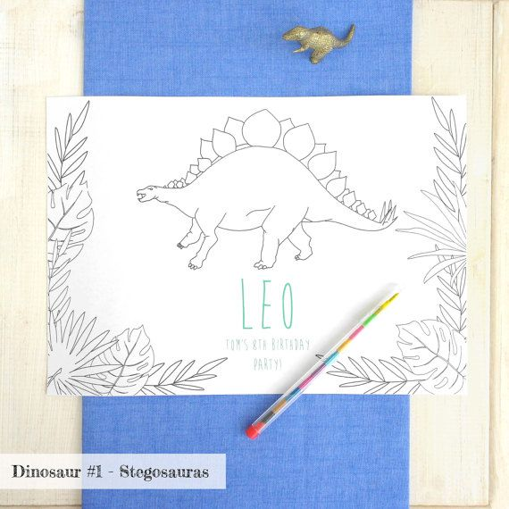 Dinosaur Colouring In Place Mat - Personalised Placemat - Jurrasic Park Party - Jungle Party - Wedding Activity Pack - Wedding Table Decor - Let's Dream - Etsy