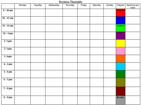 Revision Timetable Template Gcse  ApigramCom