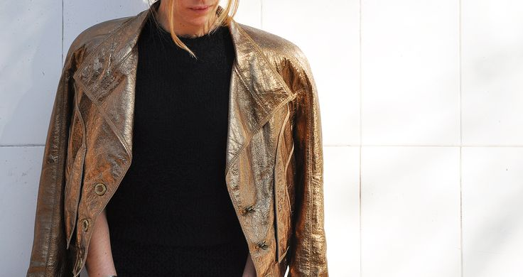 #lapetiteduchesse #glam #style #fashion #leather #golden #jacket #rubencampos #black #topshop #knit #crop #top