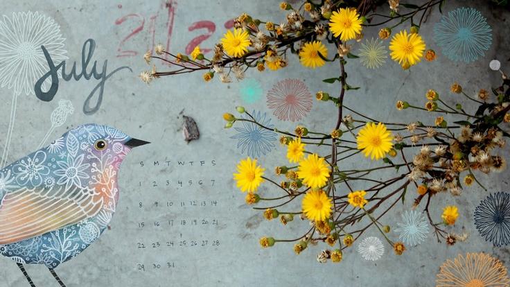 Geninne's Art Blog: For July: Desktop Calendar