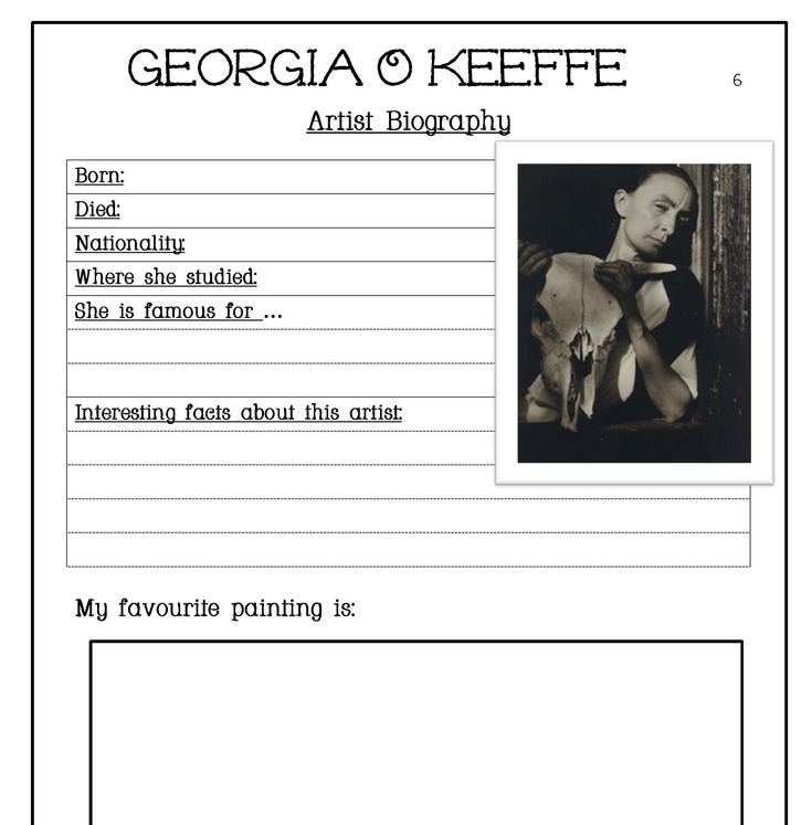 artist bio worksheet | ... and quotes with a biography page is available as a free download