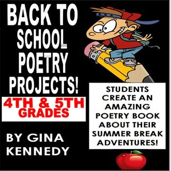 "No-Prep Poetry, ""Back to School"" Writing Projects. The students will be able to reminisce about all of their summer adventures by completing four of the ten poetry projects in this differentiated assignment. From writing a ""Bio Poem"" to a ""Top Ten List Poem"", they will love these humorous and fun back to school poetry projects."