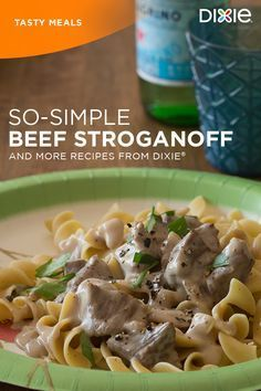 So Simple Beef Stroganoff can be your new go-to recipe when you don't feel like buying or using a ton of ingredients. A can of condensed cream of mushroom soup, dry onion soup mix, beef stew meat, cream cheese and water are all you need. Find more simple recipe ideas at dixie.com.