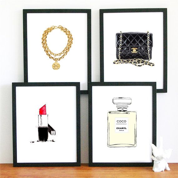 4 chanel bag gold bracelet limited edition art Print wall hanging home decor. Best 20  Chanel wall art ideas on Pinterest   Chanel print  Chanel