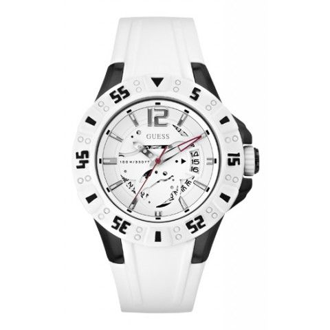 Guess Mens & Womens Stainless Steel Case White Silicone Watch
