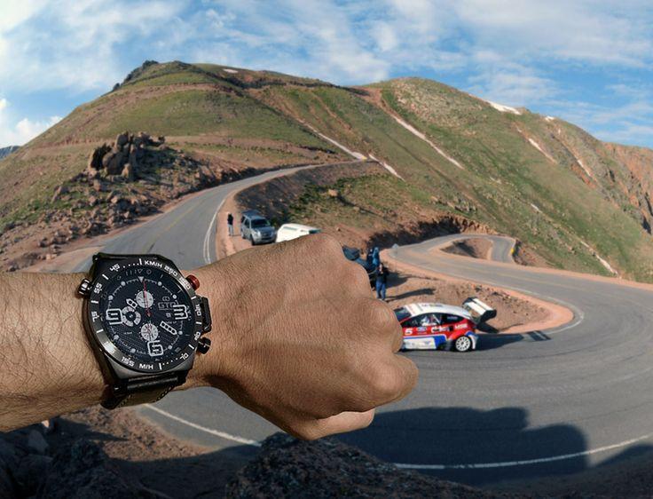 Montre homme sport Warm Up de GTO ! Partenaire de vos courses automobile. #montre #homme #sport #voiture #pikespeak