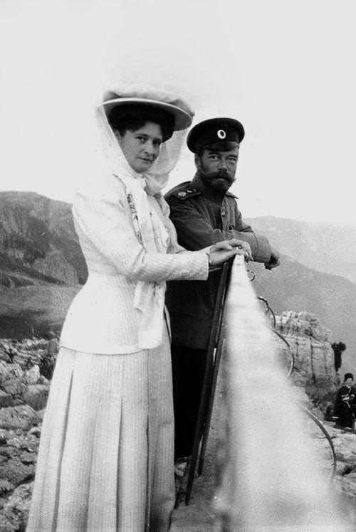 Emperor Nicholas II and his wife Alexandra Feodorovna in Livadia.