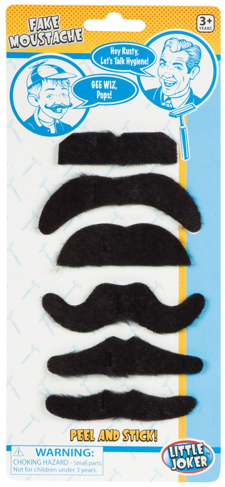 Fake Moustaches, 84135.  Package includes (6) fake moustaches in assorted styles. $4.00.