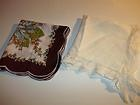 2 Vintage Silk & Cotton Womens Handkerchiefs Brown, White, Blue Floral