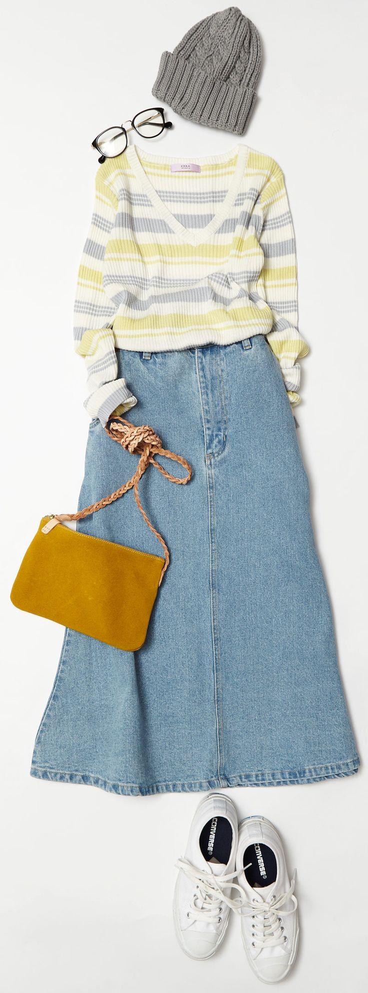 レトロ調デニムスカートで旬を先取り! ルミネエスト新宿のアイテムから、春を意識した通勤やバレンタインデーなどに着たい、女の子らしさ漂うスカートスタイルのコーディネートをご紹介! 人気スタイリスト入江未悠さんが「大人かわいい」をテーマに、上品でまねしやすいスタイリングを提案します!