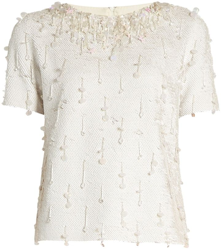 ASHISH Sequin-embellished short-sleeved cotton top