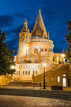 Fishermen Bastion with conical towers, built in Neo-Romanesque, at twilight hour, Budapest, Hungary.