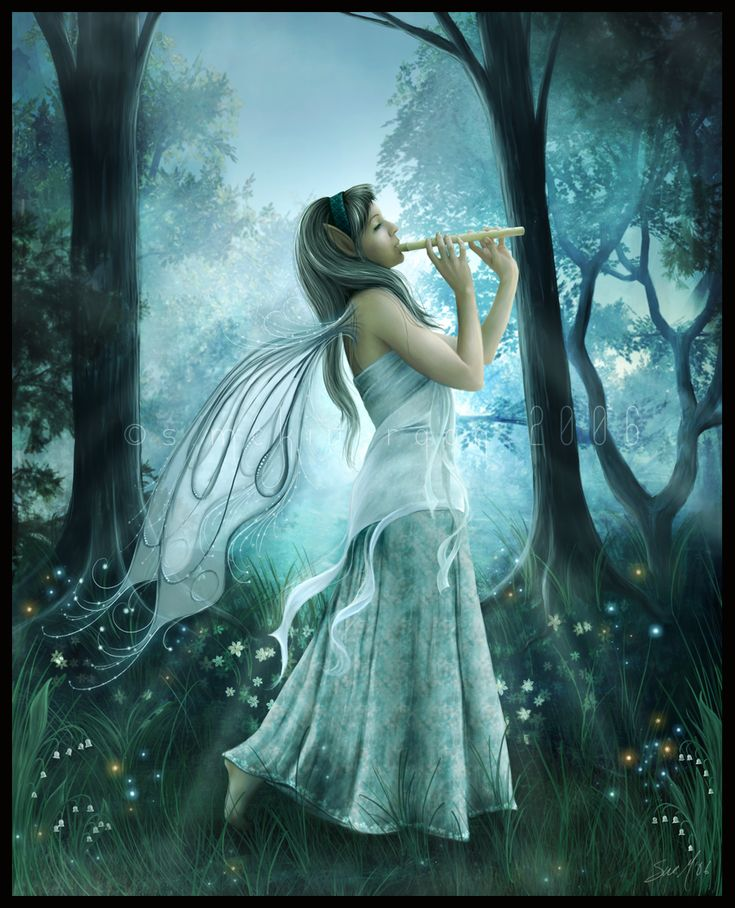 Woodland Fairy: Beautiful Fairies, Art Paintings, Forests Fairies, Flute, Fantasy Art, Digital Art, Fairies Art, Fairies Pictures, Fairies Tales