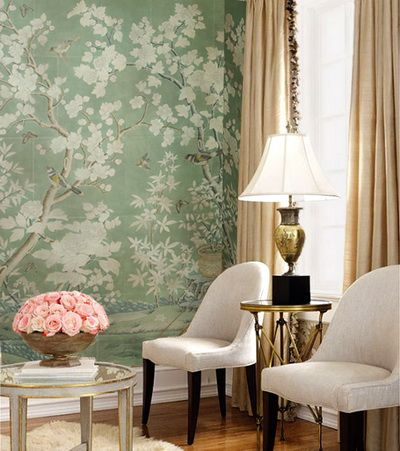 Chinoiserie Wallpaper with Birds | hand painted wallpaper :: chinoiserie wallpaper :: silk wallpaper ...