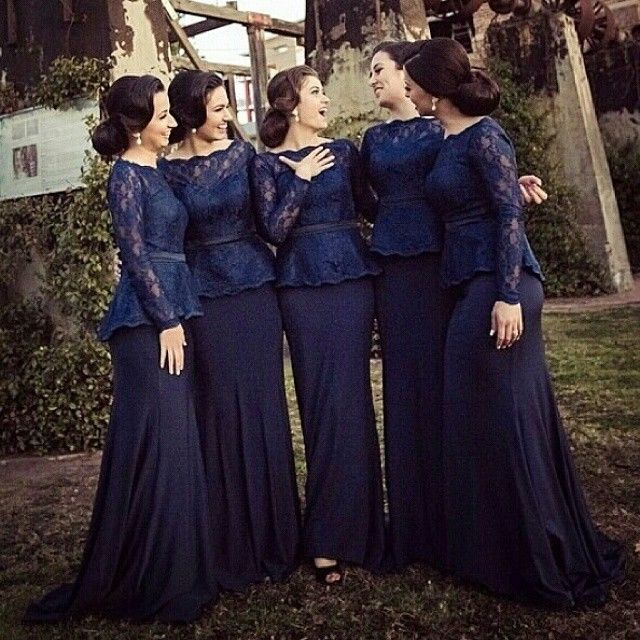 Lace Bridesmaid Dresses With Long Sleeve Elegant Navy Blue Bateau  Evening Gowns- love these!! In maybe shorter sleeves.