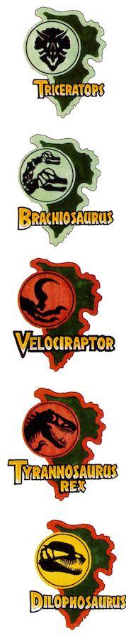 Jurassic Park dinosaur logos. Source: Making of Jurassic Park book