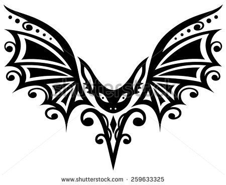 Tribal and tattoo, bat with large wings  - stock vector