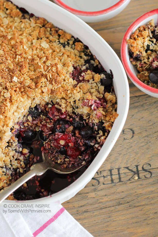 Mixed Berry Crisp is deliciously quick and easy! With an extra dose of crumble topping and a hint of lemon zest, this is one of my most requested dessert recipes! We serve it warm out of the oven with vanilla ice cream.