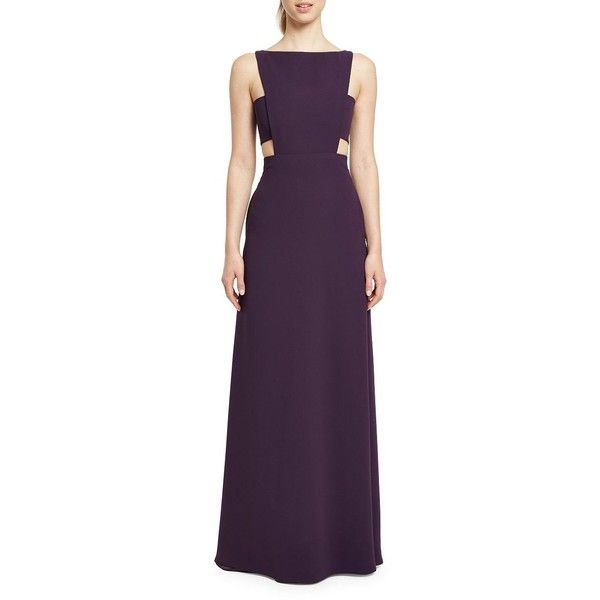 Jill Jill Stuart Women's Cutout Bateauneck Gown ($227) ❤ liked on Polyvore featuring dresses, gowns, cobalt, sleeveless dress, cut out dresses, boat neck evening gown, cutout gown and sleeveless gown