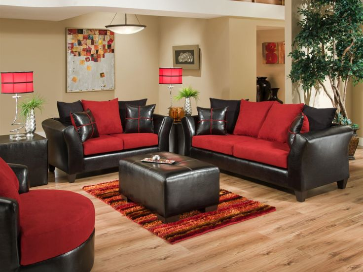 With plenty of room to sit back and relax, this sofa and love seat set offers a contemporary look with bold tones. The ultra soft fiber filled  pillows create a unique style and add comfort and support for watching the game or your favorite TV show with friends and family. A soft over-sized rolled arms ensures that your whole family will stay comfortable. The black faux leather with red upholstered sofa and love seat set will spice up your living room. Only $449.95!