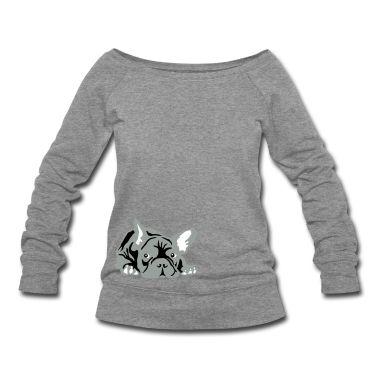White/red French Bulldog Long sleeve shirts >> med >> grey // black