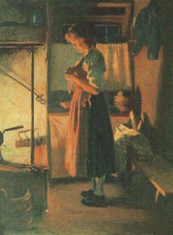 Sam Uhrdin. KULLA I ELDSKEN. Olja på duk. 1941. 93 x 74 cm   Kulla i eldsken by Sam Uhrdin