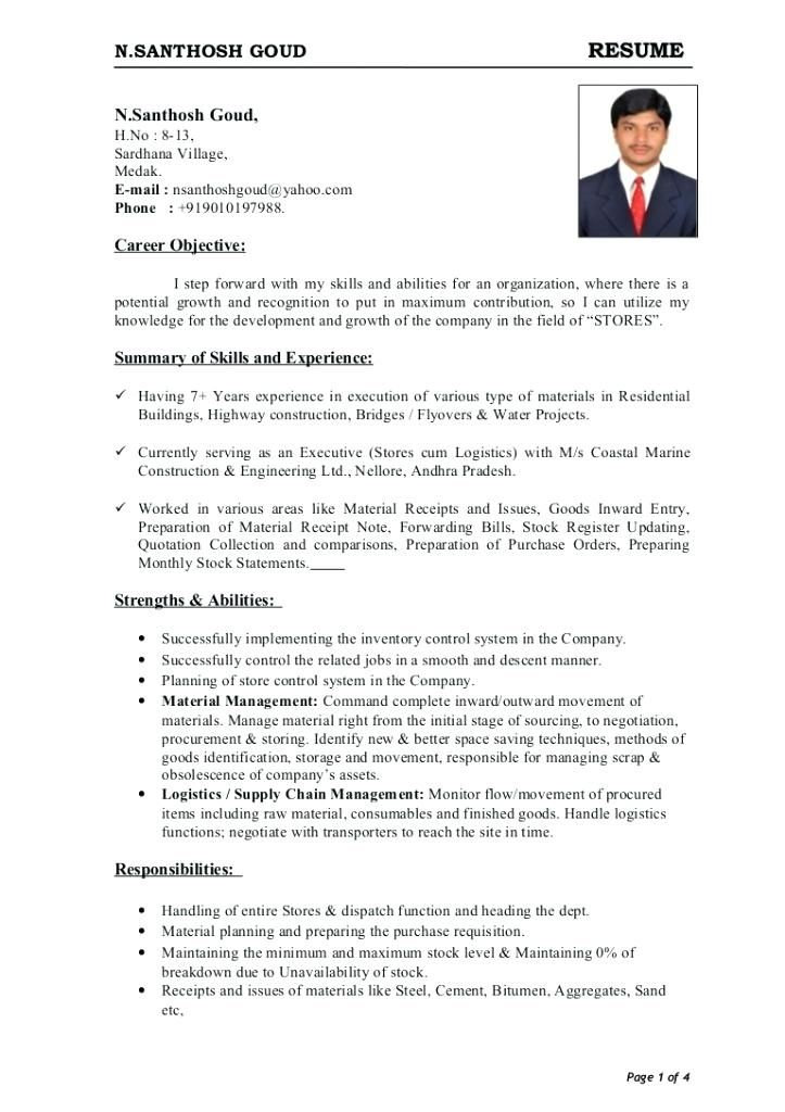 22 Sample Store Keeper Job Resume Format For Format Job Resume Format Job Resume Free Resume Samples