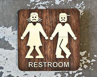 Round Wood Unisex Bathroom Sign Office Restroom WC от grayskunk