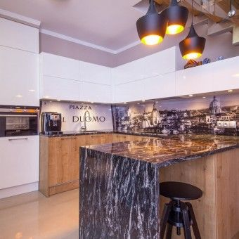 Apartament na Ołtaszynie. Kuchnia. #kuchnia #kitchen #kitchendesign #interior #design #stairs